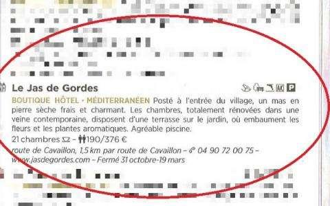 L'hôtel Le Jas de Gordes recommandé par le guide Michelin